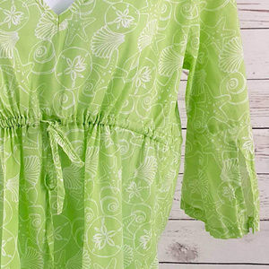 Sealife Swim - Sealife green white seashell drawstring coverup